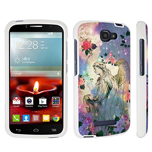 DuroCase Alcatel OneTouch Fierce 2 7040T / POP Icon A564C (2014 Released) Hard Case White - (Roses Angel) (Alcatel One Touch Fierce Prepaid Cell Phone)