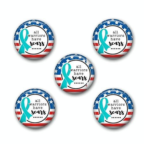 All Worriors Have Scars PTSD Awareness Pinback Buttons Set Of Five