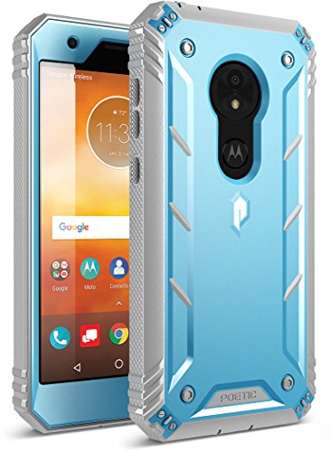 Moto E5 Play Rugged Case, Moto E5 Cruise Rugged Case, Poetic Revolution [360 Degree Protection] Full-Body Rugged Heavy Duty Case with [Built-in-Screen Protector] for Moto E5 Play/Moto E5 Cruise Blue