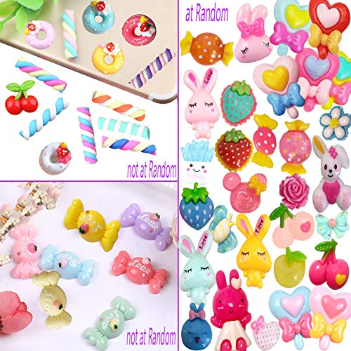 Mlambor 40 pcs Slime Charms Mix Lot 3D Candy Donut Cherry Lollipop Food Animal Resin Flatback Slime Bead Button Supply for DIY Scrapbooking Embellishment, Phonecover Hair Clip Jewelry Craft Accessory