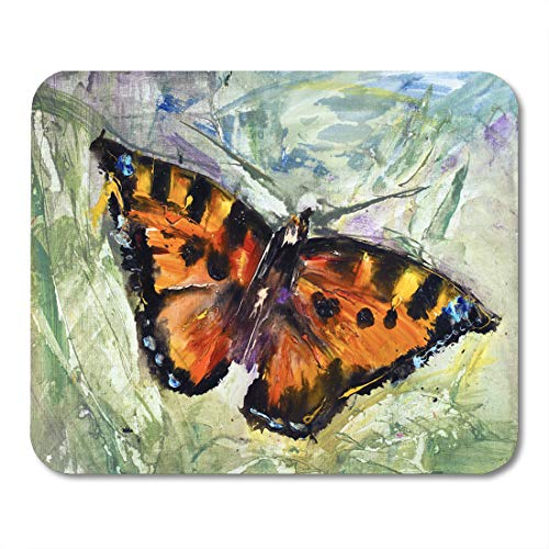 utterfly Grass Oil Canvas Modern Contemporary Watercolor Painting Pictorial Mouse Pad for notebooks, Desktop Computers mats 9.5