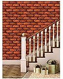 Paper Plane Design Self Adhesive Stone Brick Wall Effect Pre Gummed Wallpapers for Home Decor, 26.7 SqFt (Multicolour)