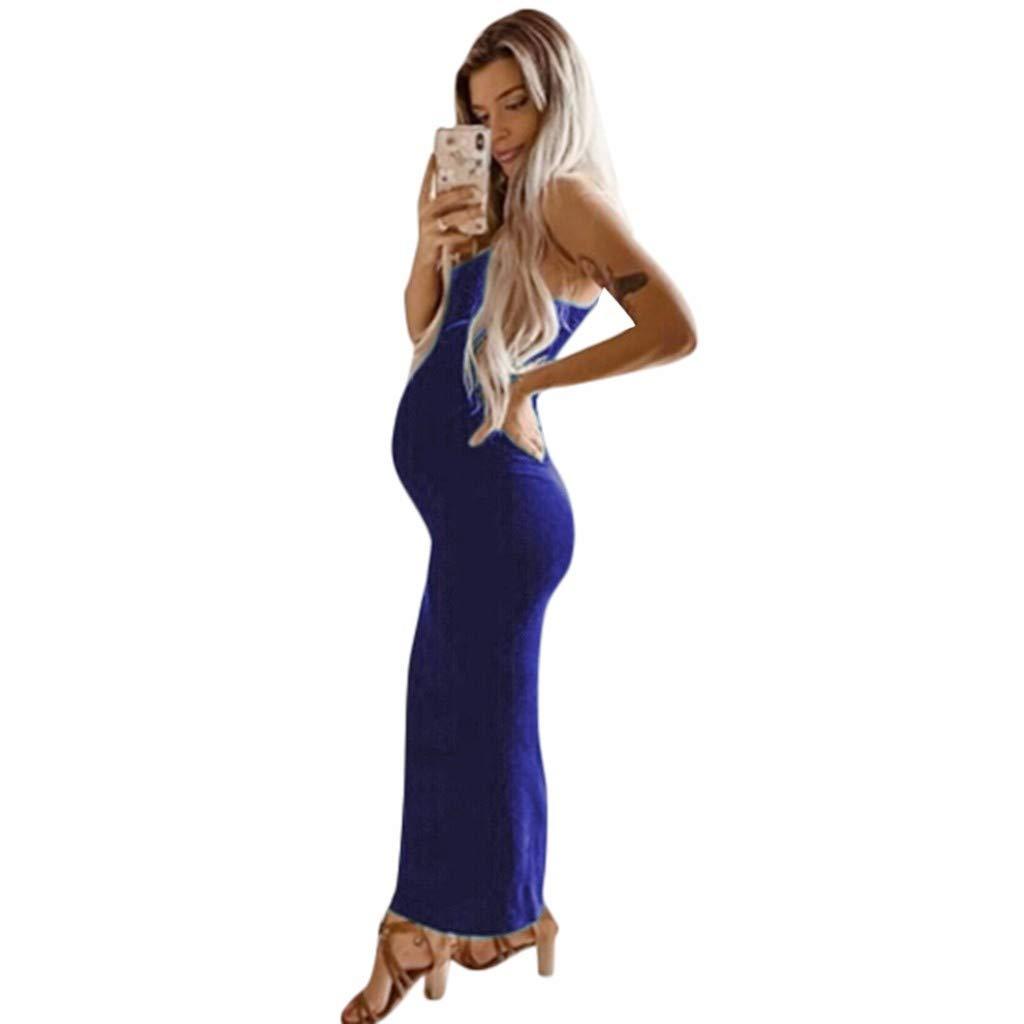 Iusun レディース マタニティ ロングドレス レースバック ノースリーブ サンドレス 授乳 ベビー 授乳 妊婦 夏 デイリー 休暇 休日 M ブルー B07PYX678B