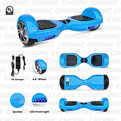 Smart Electric Self Balancing Hoverboard - 2018 Two Wheel Balance Hover Board Segway Scooter w/ Rechargeable Battery, Charger, Accessories, 8 MPH Max Speed, For Kids Adults - Hurtle PSCOOT33BL (Blue)
