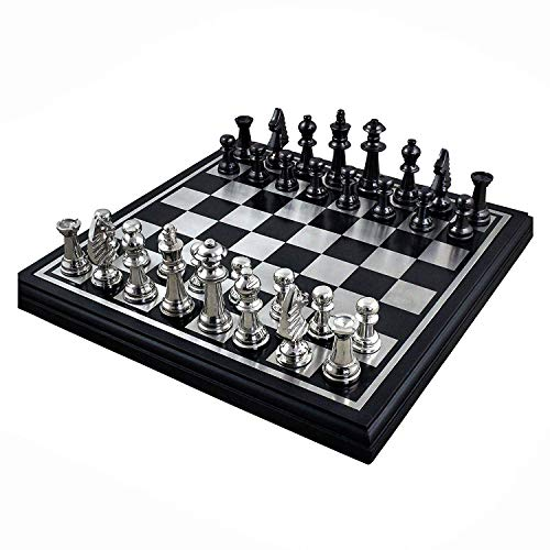 RoyaltyRoute Metal Plated Black Wooden Traditional Chess Board and Pieces Set Luxury Travel Games for Family 11.8 Inches - Christmas Gifts for Kids, Adults & Children