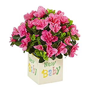 Artificial Flowers -Azalea in New Baby Ceramic Arrangement Silk Flowers 68