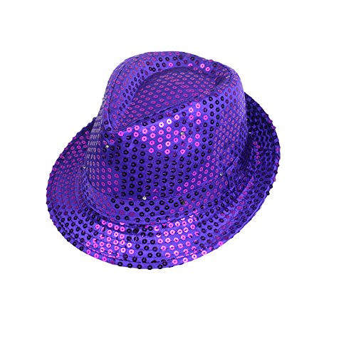 Mobster Costume Diy (Gobuy Unisex Led Light Up Fedora Cowboy Hats Costume Party Cap)