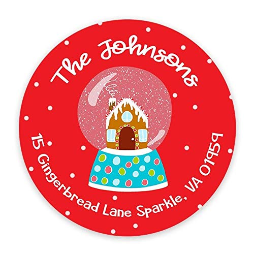 Christmas Address Labels - Round Return Labels - Holiday Address Stickers - Stationery Stickers - Gingerbread House - Sheet of 12 or ()