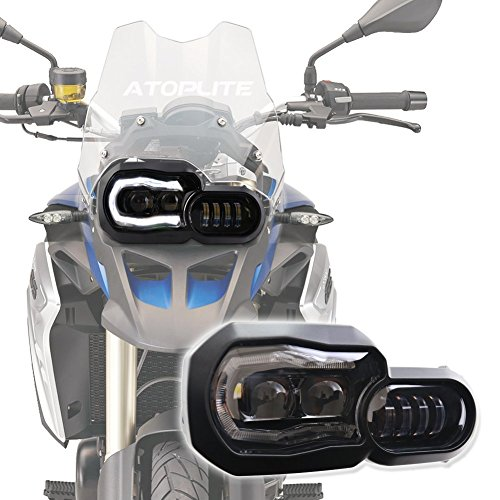 ATOPLITE BMW moto LED Headlight High/Low Beam with Angel Eyes DRL Assembly Kit and Replacement Headlight For BMW F650GS/F700GS/F800GS F800ADV - Bmw Replacement Headlights