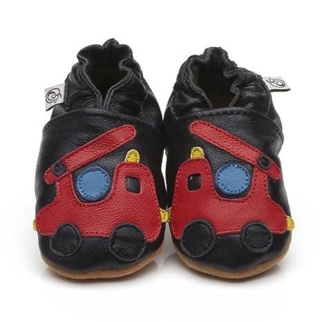 Suaves Zapatos De Cuero Del Bebé Carro De Bomberos 12-18 ...