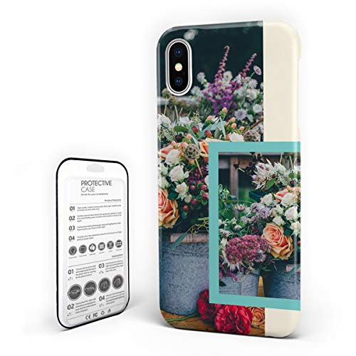iPhone X Case Floral Design Hard Plastic PC Ultra Thin Protective Phone Case Cover Compatible iPhone X (5.8 inch) Rose Flowerpot Clear Image ()