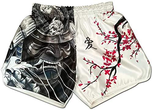 Muay Thai Shorts Kickboxing Martial Arts Combat Fight MMA UFC Boxer Boxing Trunks (M, Cherry Blossom Samurai)