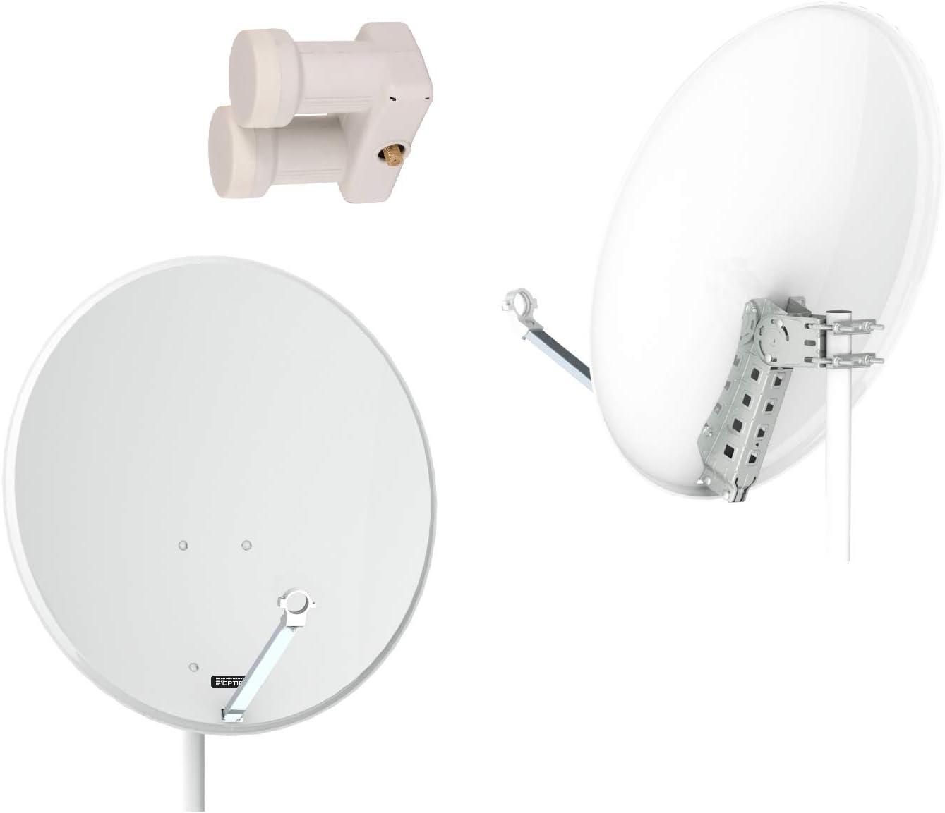 Opticum QA 80 satélites Gris Acero Antena con LNB Simple ...