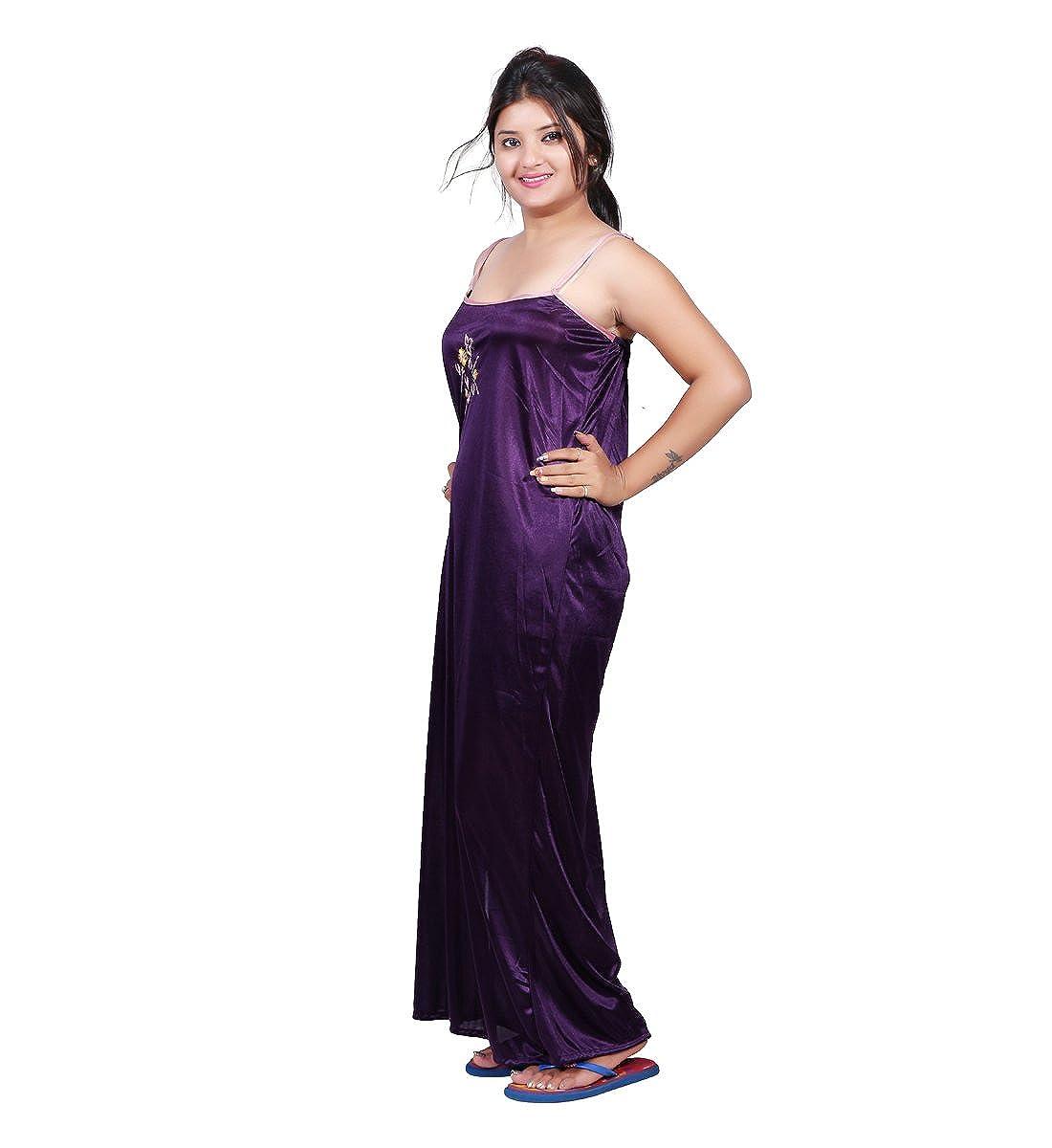 Bailey Women Satin Combo Of Night Dress (BAILEY0153 _Purple & Light ...