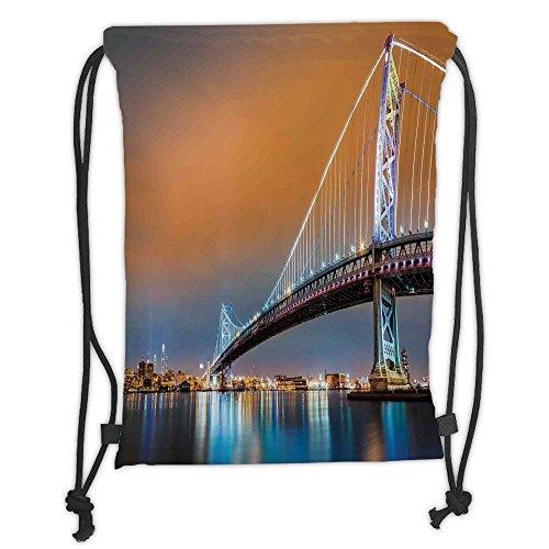 Best deals Custom Printed Drawstring Sack Backpacks Bags,Apartment Decor,Ben Franklin Bridge and Philadelphia Skyline Viewed from Camden