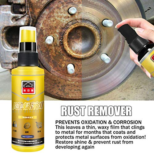 Multifunctional Rust Remover Stain Polishing Cleaner, Eco-Friendly Derusting Spray Car Maintenance Cleaning, Auto Rapid Derusting Decontaminating Rust Dissolver Rust Inhibitor Cleaner 120ML (Yellow)