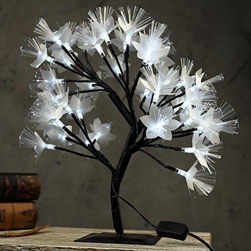 MHOLFB 0.4M/15.8 Inch 40 LEDs Fiber Optic LED Cherry Blossom Tree Branches Light Table Lamp Desk Top Bonsai Decoration for Home Festival Party Wedding Christmas (White)
