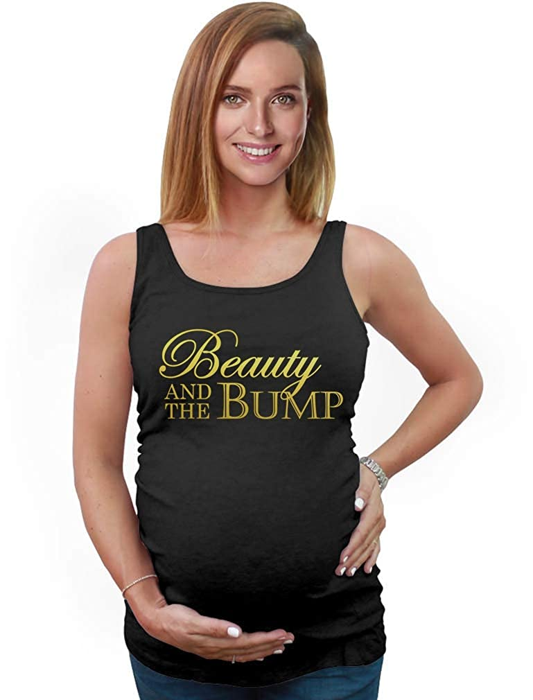 Tstars Beauty And The Bump - Funny Pregnancy Humorous Maternity Tank Top Tunic XX-Large Black GM0hPtgW5PlW59HHB