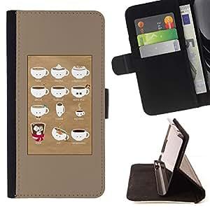 For Sony Xperia Style T3 Case , Barista Copa Marrón Caf?- la tarjeta de Crédito Slots PU Funda de cuero Monedero caso cubierta de piel
