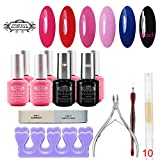 Perfect Summer 6 x 8ml Colors Gel Nail Polish UV LED Soak Off + Clear Base Coat and Top Coat with 6 PCS Nail Art Tools French Manicure Starter Kits 14 PCS Set #010 For Sale