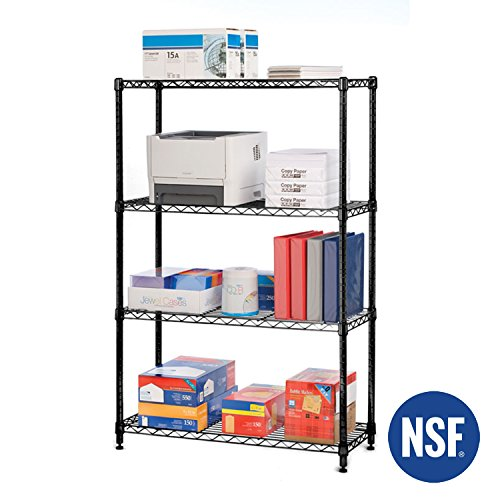 Seville Classics 4-Tier Black Epoxy NSF-Certified Steel Wire Shelving with Wheels, 36