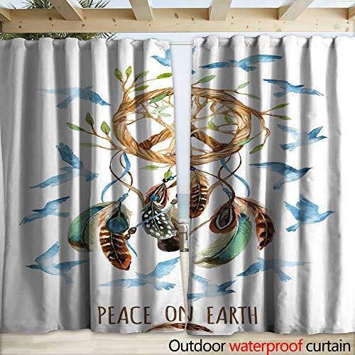 (warmfamily Drape for Pergola Curtain Watercolor Ethnic Dream Catcher and Peace Sign Drapery W120 x L96)