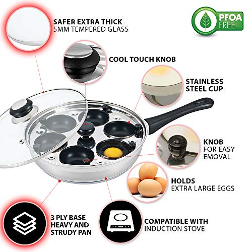 Eggssentials Poached Egg Maker - Nonstick 6 Egg Poaching Cups - Stainless Steel Egg Poacher Pan FDA Certified Food Grade Safe PFOA Free With Bonus Spatula by PremiumWares (Image #1)