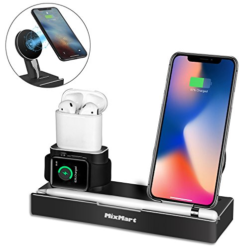 Wireless Charger Stand Compatible for iPhone Xs/Xs Max/Xr/X, 6 in 1 Aluminum Charging Dock for iWatch/AirPods/iPad/Apple Pencil, Detachable Wireless Charger For Samsung Galaxy S9/S8/S7/S6 Edge (Black)
