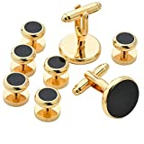 18K Gold Plating Fashion Men Tuxedo Cufflinks and Studs - With Gift Box