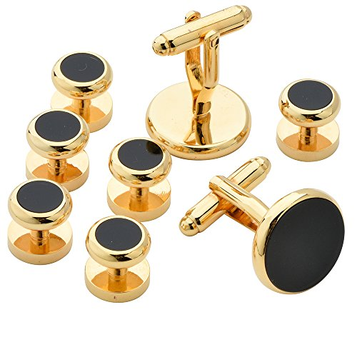 18K Gold Plating Yellow Fashion Men Tuxedo Cufflinks and Studs 4 Pair - With Gift Box (Yellow) - With Gift Box 6dui