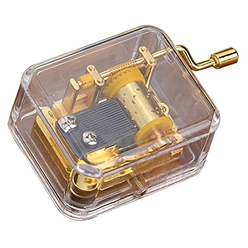 Transparent Hand Cranked Music Box, Castle In the Sky/Happy Birthday/Wedding March/You Are My Sunshine/Let It Go,Valentine's Day Birthday Holiday Gift Ideas by Wingbind ()