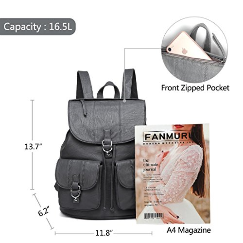 for Pockets gray nbsp;Drawstring Leather Two Buckle VASCHY Faux Flap Purse with Backpack College Front Women Backpack Large for Fashion xwUAPaq