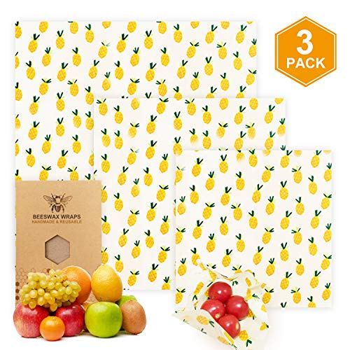 Beeswax Food Wraps Reusable Eco-Friendly Sustainable Food Wraps Plastic Free Set of 3 Food Wraps for Snacks Cheese Vegetables Fruits Bread Washable Zero Waste Food Storage Wrappers by Trenect