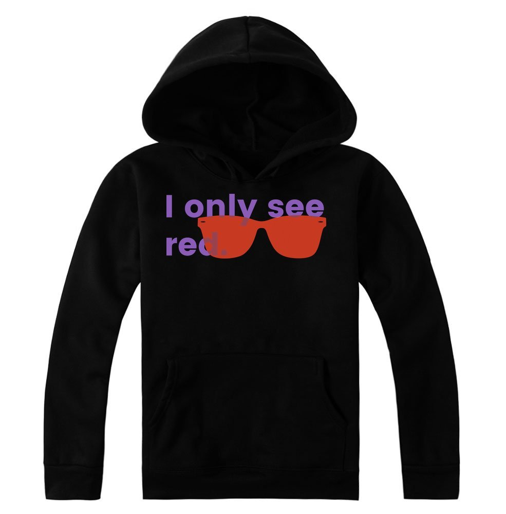 idcommerce I Only See Red Cool Red Sunglasses Women's Hoodie Pullover Large