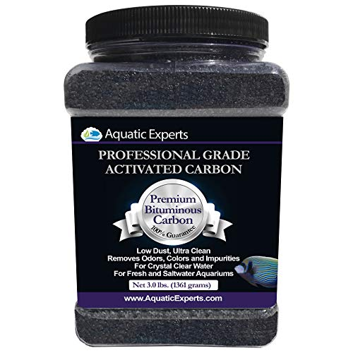 Aquatic Experts Premium Activated Carbon - Aquarium Filter Charcoal Media with Fine Mesh Bag - 3.0 lbs - Remove Odors and Discoloration with Bituminous -