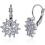 Elegant New Fashion Women 925 Sterling Silver Jewelry White Zircon Crystal Stud Hoop Earrings