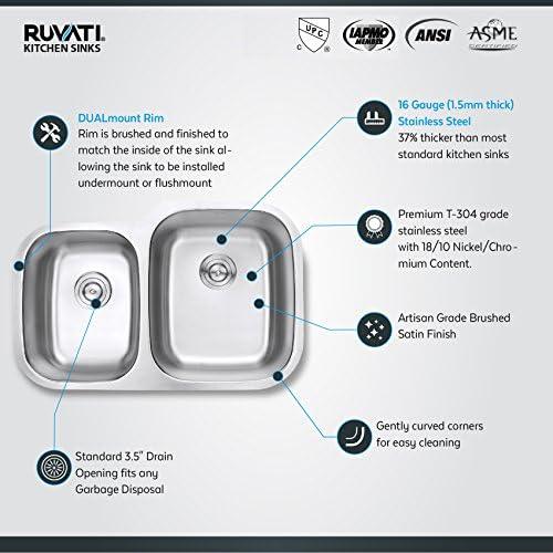 Ruvati 32-inch Undermount 40 60 Double Bowl 16 Gauge Stainless Steel Kitchen Sink – RVM4315