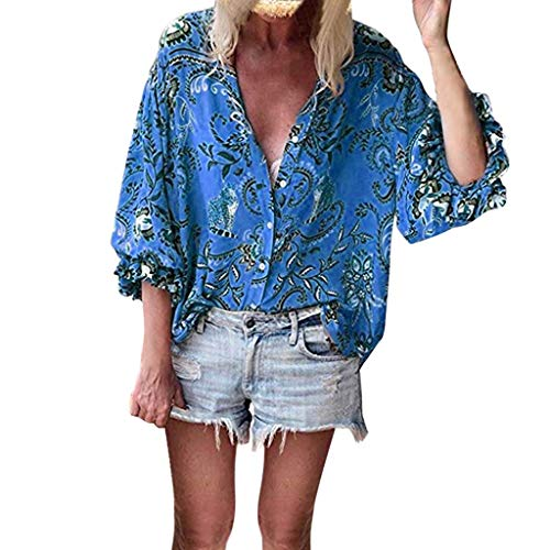 Benficial Womens Button V-Neck Floral Print Tops Ruffle Cap Sleeve Summer Shirt Blouses Blue