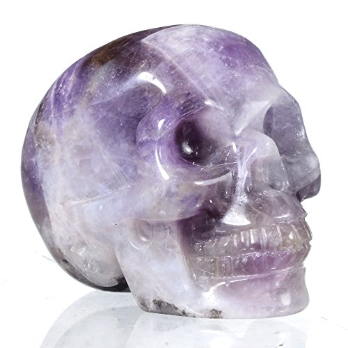 Mineralbiz New Design 1.8 – 2 Length Natural Dog-teeth Chevron Amethyst Handmade Stone Carving, Crystal Miniature Skull, Amethyst Cluster Human Skull Head, Pocket Skull, Skull Carving, Crystal Gemstone Healing Reiki