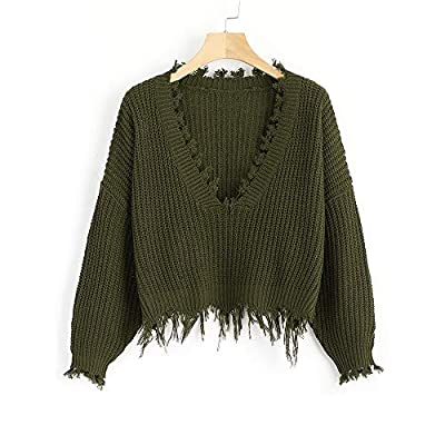 ZAFUL Women's Solid V Neck Loose Sweater Long Sleeve Ripped Jumper Pullover Knitted Crop Top Army Green at Women's Clothing store