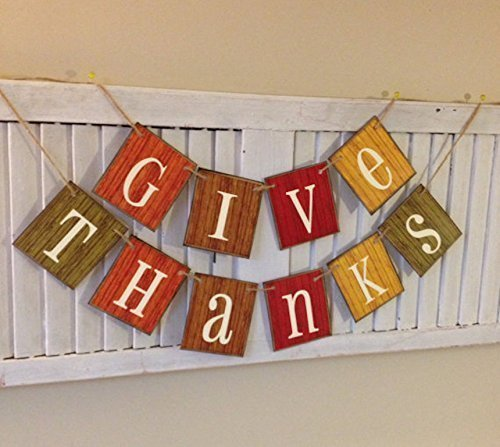 (Give Thanks Fall Autumn Banner Bunting Garland Sign Distressed Barn Siding Colorful Cards)