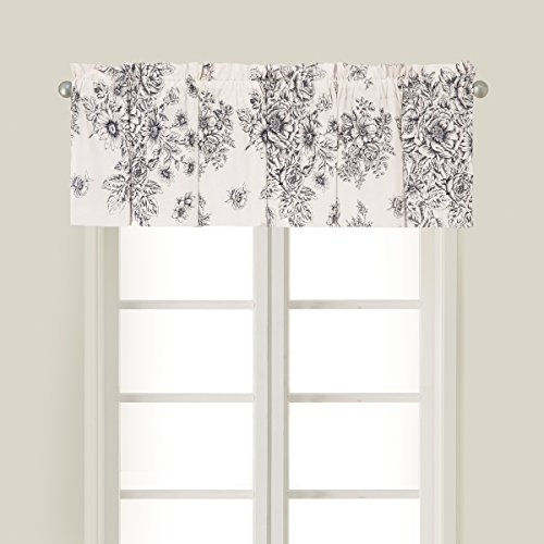 Black White Toile Curtains - C&F Home Nelly Onyx Black Toile Cotton Valance Set 2 Valance Set of 2 Black