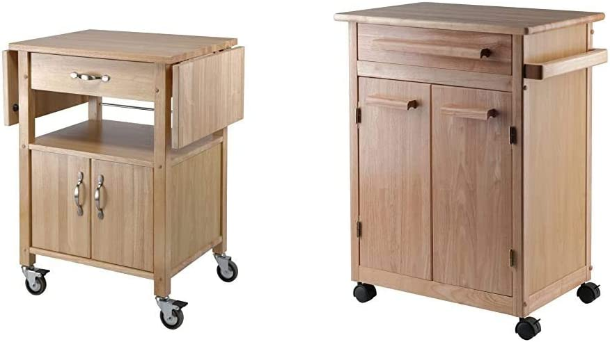 Winsome Wood Drop-Leaf Kitchen Cart & Wood Single Drawer Kitchen Cabinet Storage Cart, Natural