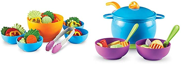 Learning Resources Garden Fresh Salad Set, Vegetables, Play Food, 38 Piece Set, Ages 2+ & New Sprouts Soup's On!, 23 Pieces