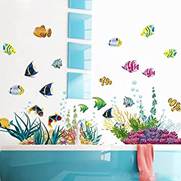 Amaonm Removable Diy Under The Sea Wall Decals Blue Grass And Fish Coral Wall Mural Multicolored Wall Stickers Murals Home Art Decor For Kids Room