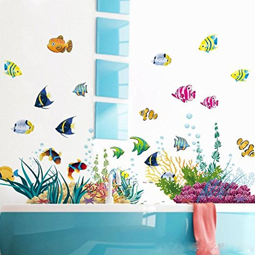 Amaonm Removable DIY Under the Sea Wall Decals Blue Grass and Fish Coral Wall Mural Multicolored Wall Stickers Murals Home Art Decor For Kids Room Girls Bedroom Playroom Nursery Room Wall Concer Grass Coral