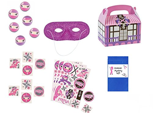 Girl Ninja Favor Bundle Party Set (121 (Ninja Party Favor Box)
