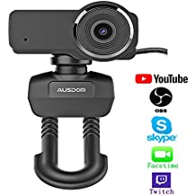 Ausdom HD Streaming Webcam, Widescreen Full HD 1080P Video Calling and Recording Web Camera with Built-in Noise Reduction Microphone, PC or Laptop Camera for Mixer OBS Twitch Skype Xsplit YouTube