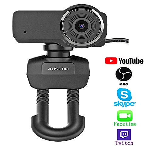 (Ausdom Full HD 1080P Streaming Webcam for OBS Live, Video Calling and Recording Web Camera with Built-in Noise Reduction Microphone, PC or Laptop Camera for Mixer Twitch Skype Xsplit YouTube)