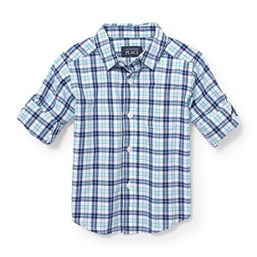 Toddler Boys Button Down Shirt - The Children's Place Baby Boys Uniform Rolled Sleeve Oxford Shirt, Mellow Aqua 3861, 4T